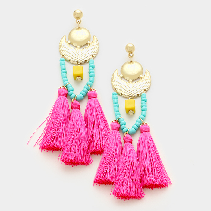 Lagoona Beach Beaded Tassel Earrings WT-336005