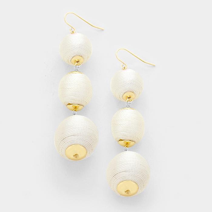 Triple Crown Thread Ball Earrings - White - Slightly irregular WT-344573