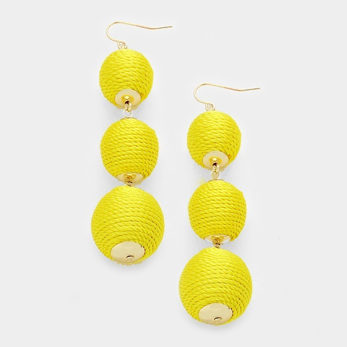 Triple Crown Thread Ball Earring - Sunny WT-336173