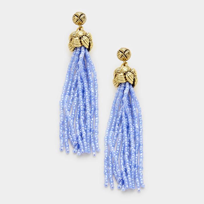 Sweet  Beaded Tassel Earrings - Baby Blue WT-338494