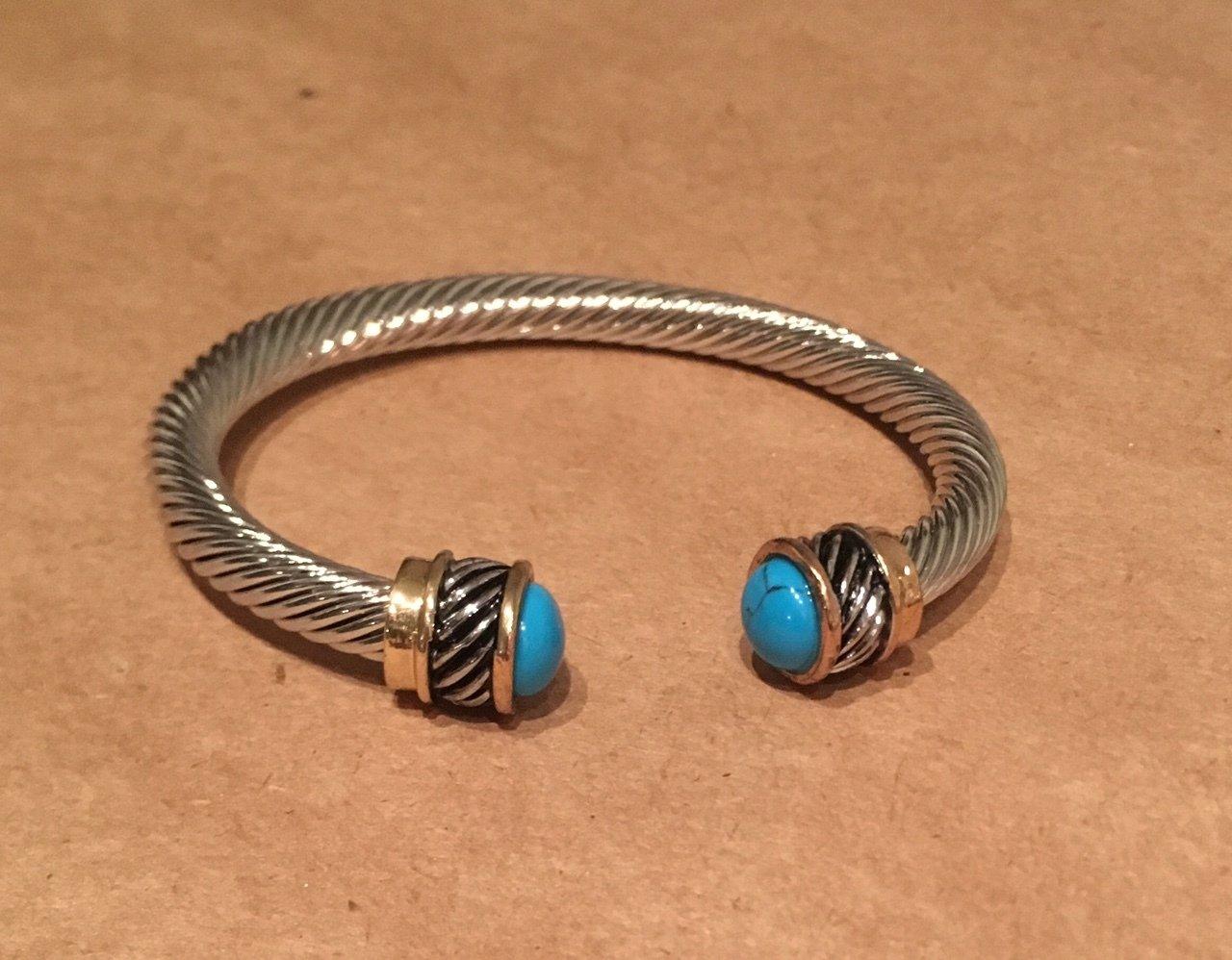 Yurman Style Turquoise Tipped Bangle OJ-0808