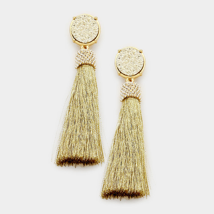 Gold Druzy Tassel Earrings WT-346903