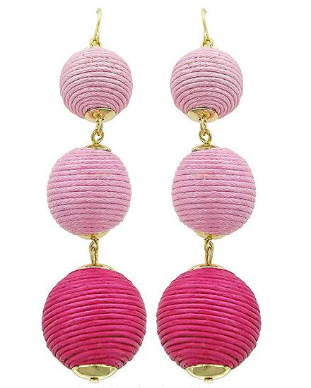 Manchester Thread Ball Earrings Ombre Pink BB-541004