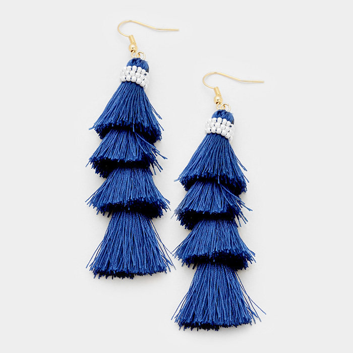 Montauk Tassel Cha Cha Earrings - Blue WT-346148