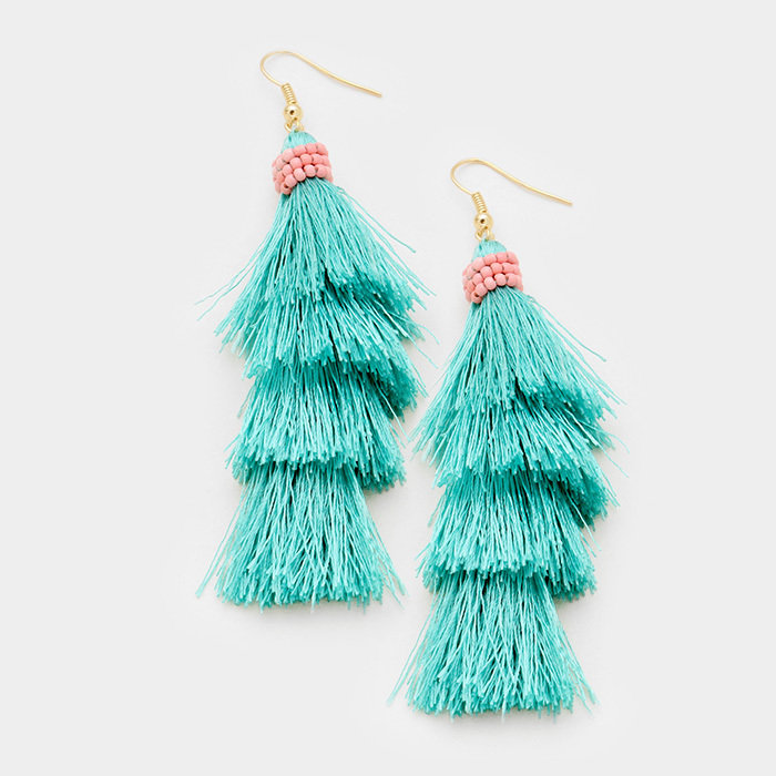 Montauk Tassel Cha Cha Earrings - Aqua WT-346147