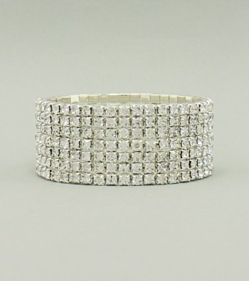 Seven Row Pave Crystal Bracelet - Silver JW-E2B1059CLRSV