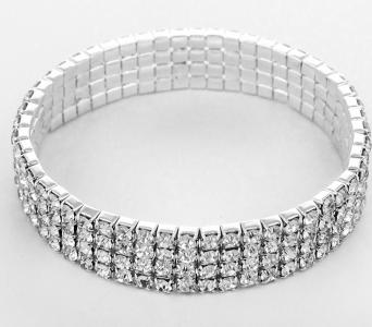Four Row Pave Crystal Bracelet - Silver JW-E2B1076CLRSV