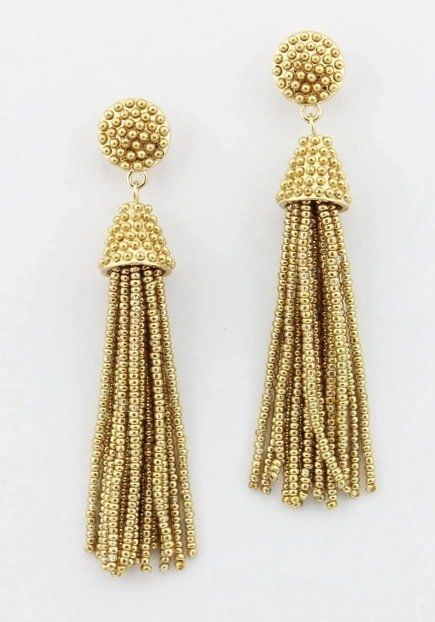 Shimmer Nights - Gold Beaded Earrings ZW-50026