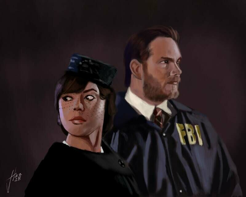 Chris Pratt and Aubrey Plaza as Andy Dwyer and April Ludgate as Burt Macklin and Janet Snakehole on Parks and Recreation Print
