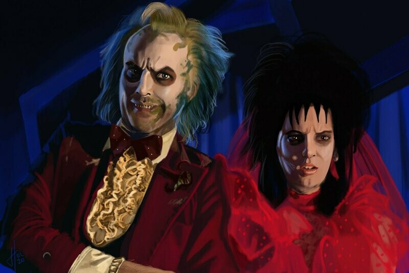 Beetlejuice and Lydia Art Print