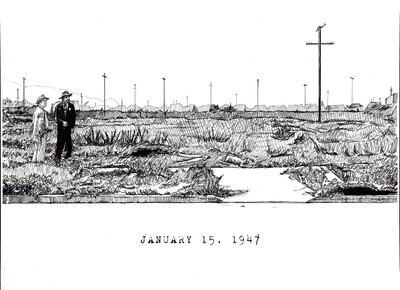 Black Dahlia Crime Scene Drawing Art Print