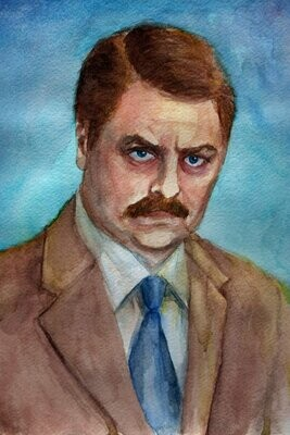 Parks and Recreation Ron Swanson Watercolor Art Print