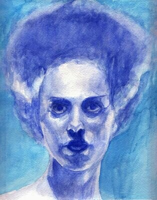 Bride of Frankenstein Watercolor Art Print