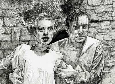 Bride of Frankenstein Original Pen Drawing Print