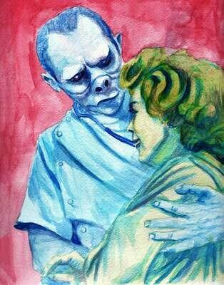 Twilight Zone Eye of the Beholder Watercolor Art Print