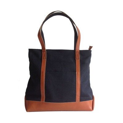 BLACK CANVAS TOTE BAG WITH GENUINE LEATHER STRAP-Free Shipping