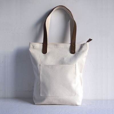 Blank Original Canvas Tote Bag Genuine Leather Handles