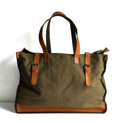 OLIVE GREEN CANVAS TOTE BAG WITH GENUINE LEATHER STRAP