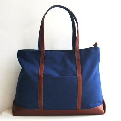 BLUE CANVAS TOTE BAG WITH GENUINE LEATHER STRAP-Free Shipping