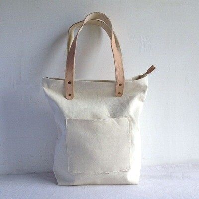 Blank Original Canvas Tote Bag Genuine Leather Handles-Free Shipping