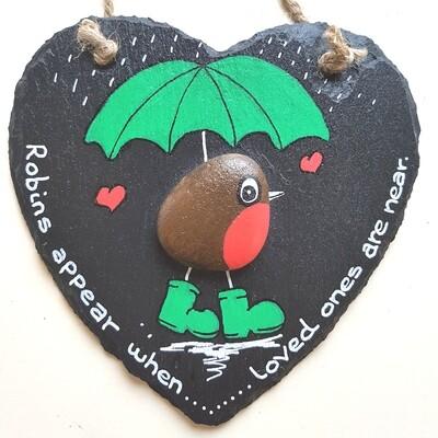 Robin on Slate Heart