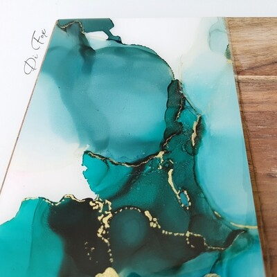 Teal Green and Gold Cheese board