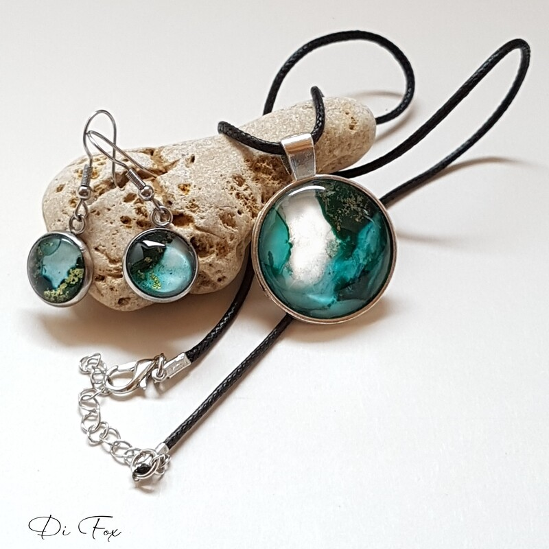 Teal green necklace pendant and earring set