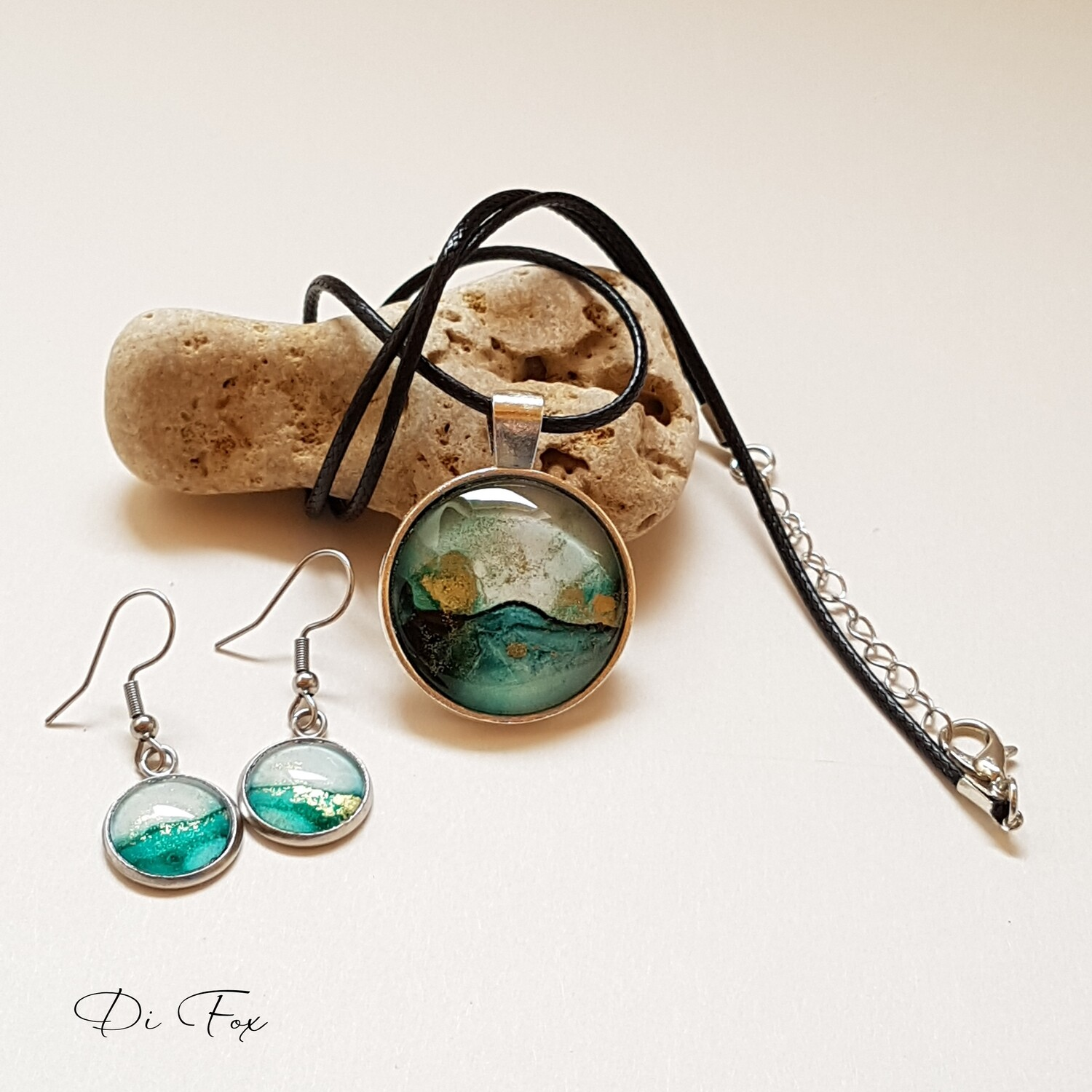 Teal and Gold ink necklace and earring set