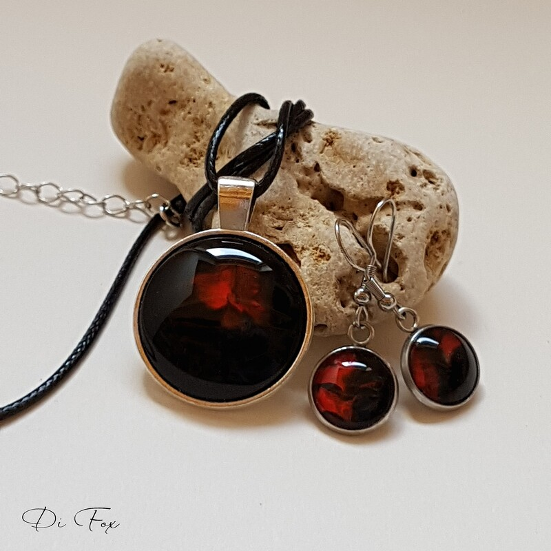 Red and Black necklace pendant and earring set