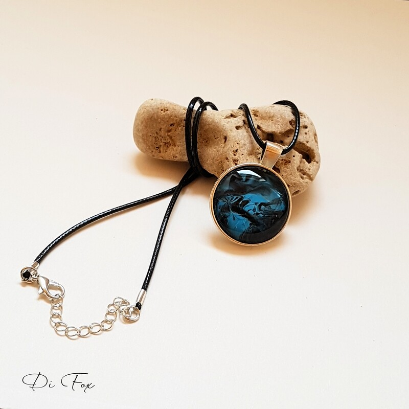 Blue and Black pendant necklace