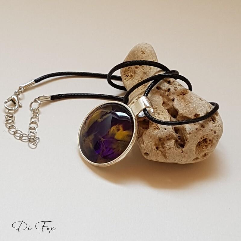 Dark Purple and yellow pendant necklace