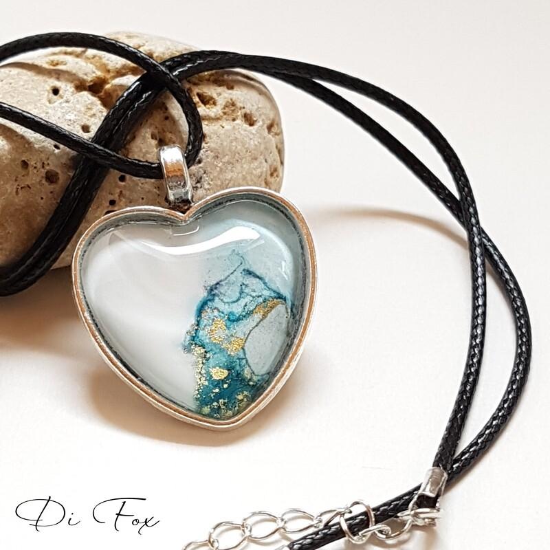 White Blue Green & gold Heart shape pendant necklace