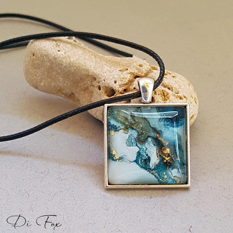 Light Blue & gold square shape pendant necklace
