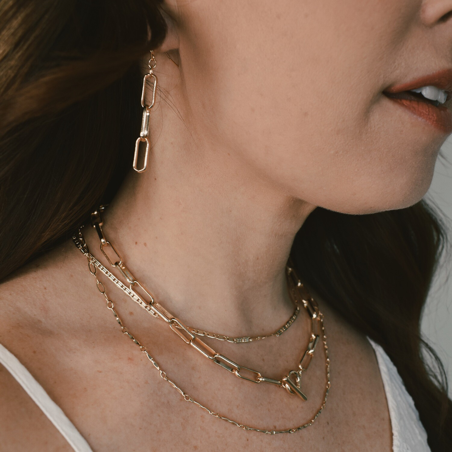 Layered Chain Necklace and Earring Set