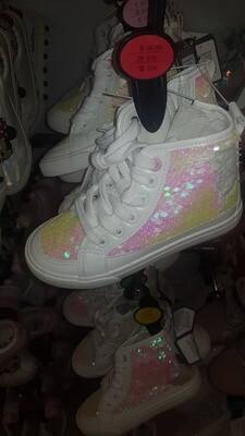 Girls white glittery trainers