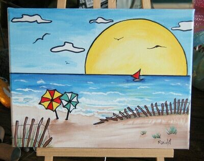 BEACH DAY - May 27 - 7 pm - 9 pm Virtual Paint the Night - Join the Members of Unplugged and Connect