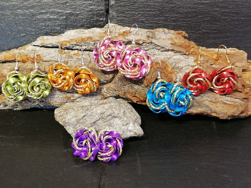 Earrings multicolor roses - Handmade  by Corinna Kirchhof