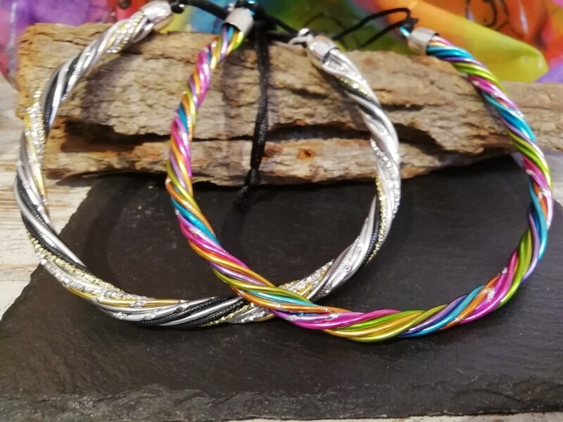 Necklaces twisted silver / gold / black / multicolor - Handmade  by Corinna Kirchhof
