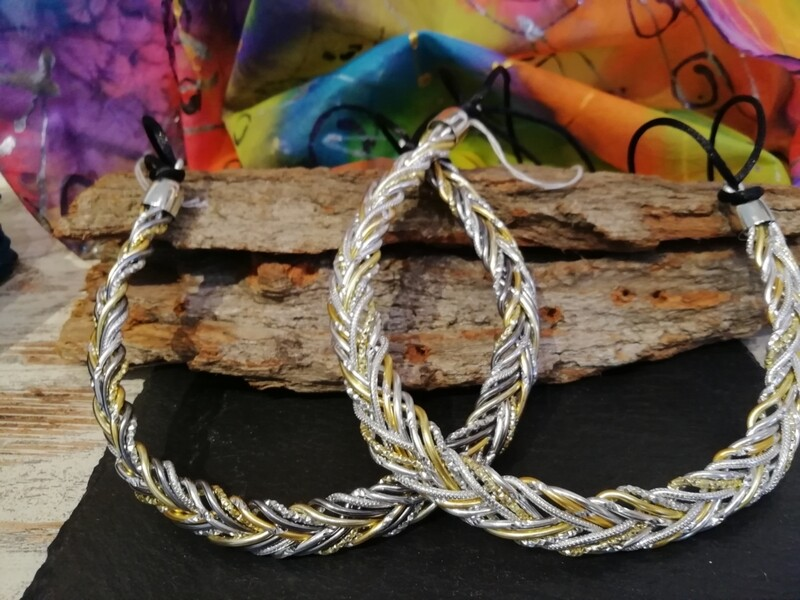 Necklaces mixed silver / gold / grey braided - Handmade  by Corinna Kirchhof