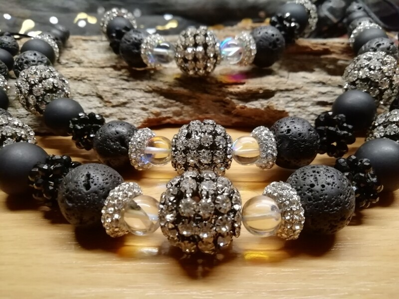 Necklaces - made with natural Lava and Strass Pearls - Handmade  by Corinna Kirchhof