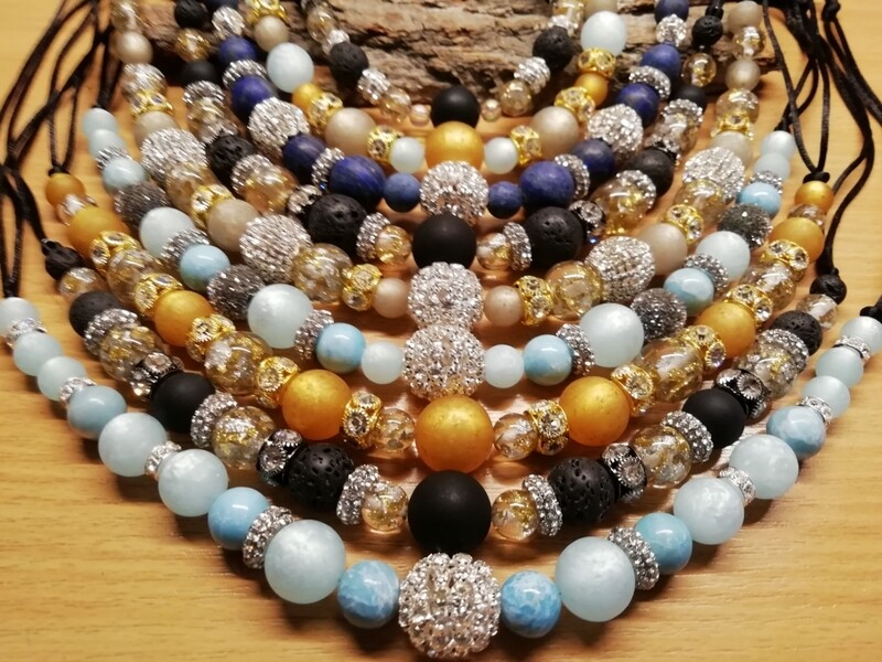 Necklaces with pearls in different colors mixed with Glass Beads - Nice Price Edition - Handmade  by Corinna Kirchhof