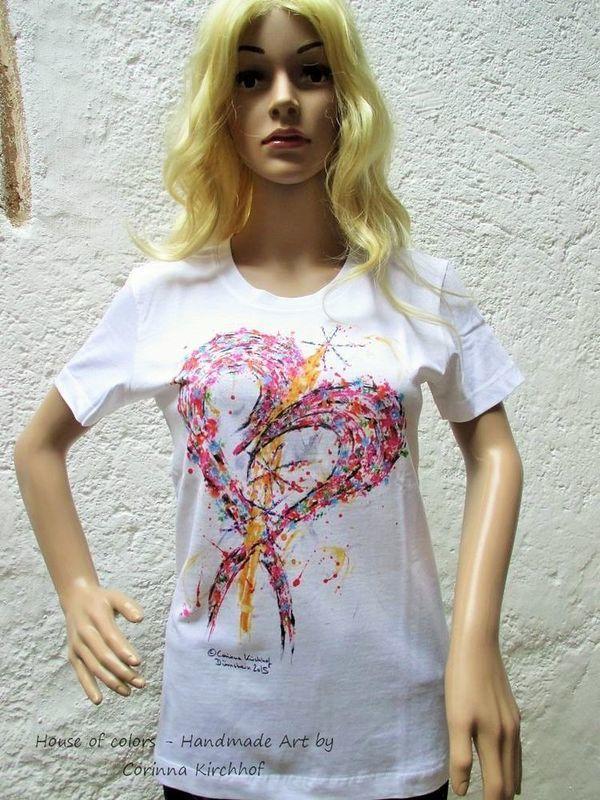 Motiv Herz / T-Shirt women white with short sleeve S - 5 XL - The Heart