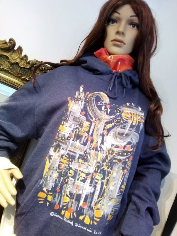 Motiv Sonnenuntergang / Hooded Sweatshirt denim designed by Corinna Kirchhof - The Sundowner  S - 3 XL