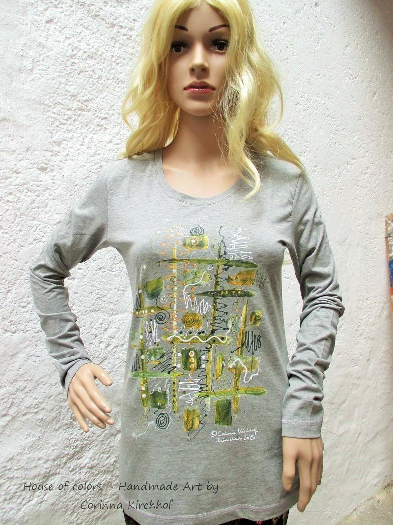 Motiv Wachau / T-Shirt women grey-heather with long sleeve S - 3 XL - The Wachau Valley