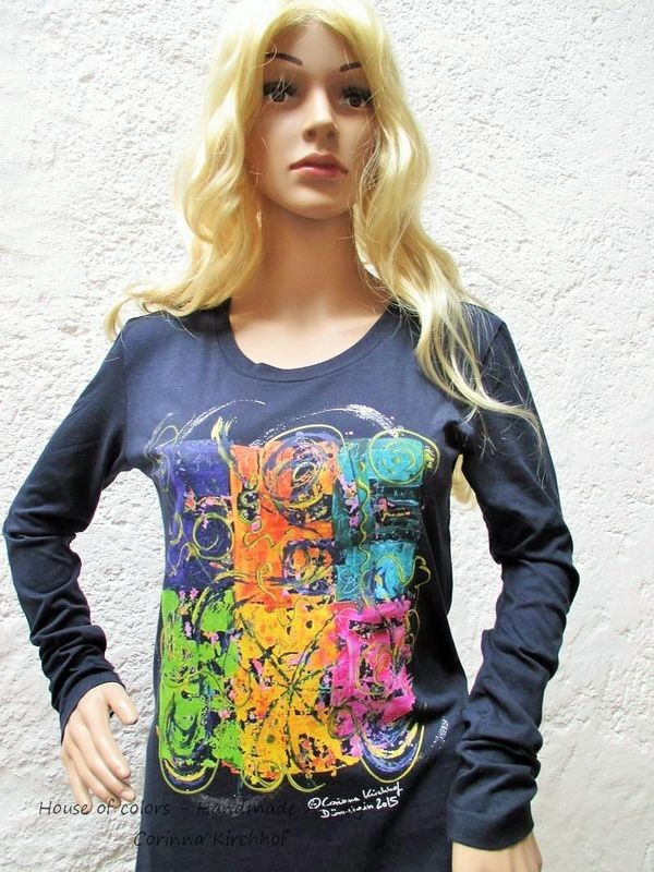 Motiv Vignette / T-Shirt women dark navy with long sleeve S - 3 XL -  The Vignette
