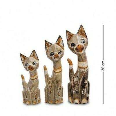 Фигурка Кошка, 3шт/наб (албезия, о.Бали)