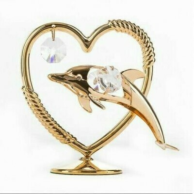 Фигурка Дельфин с сердцем Swarovski