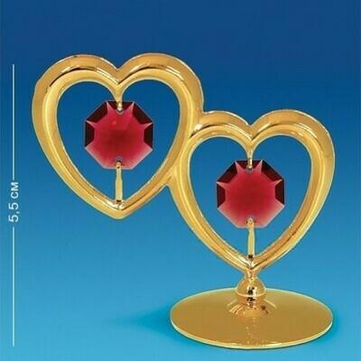 Фигурка Два сердца на подставке Swarovski