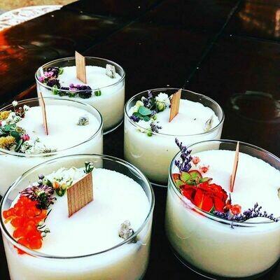 Handpoured  Selenite & Flower Candles