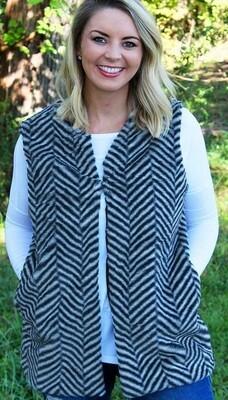 Herringbone Chilling Weather Faux Fur Vest